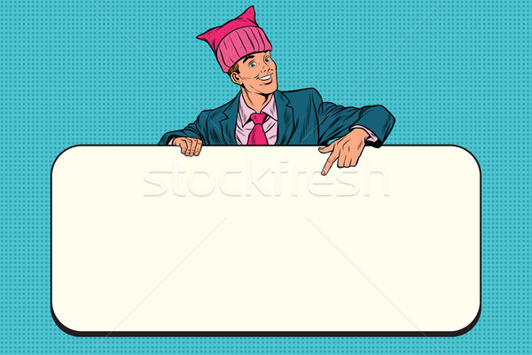 Retro businessman in a pussy hat indicates information Billboard Stock photo © rogistok