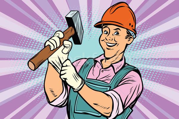 Stock fotó: építőmunkás · kalapács · javítás · szerszám · képregény · rajz