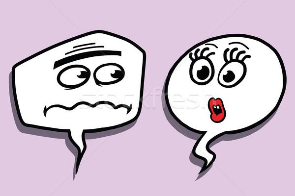 コミック バブル 顔 男性 女性 対話 ストックフォト © rogistok
