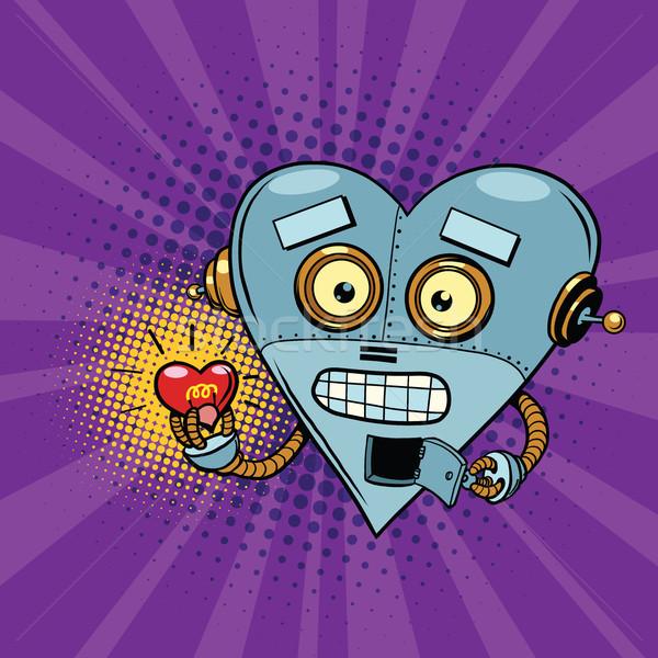 Retro robot and the light bulb heart Valentine Stock photo © rogistok