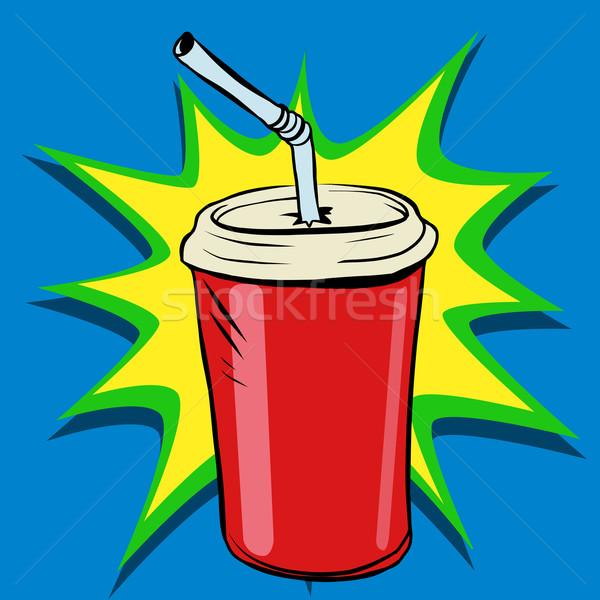 Cola coppa tubo fast food bere pop art Foto d'archivio © rogistok