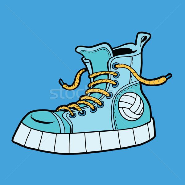 Sportok cipők labda sportcipők pop art illusztráció Stock fotó © rogistok