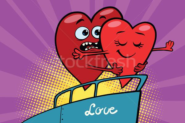 Rot Herzen Valentinsdag schwimmend Schiff Pop-Art Stock foto © rogistok