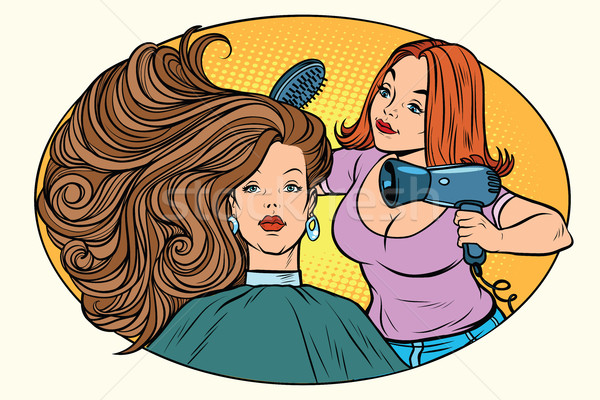 Blazen vrouwen haren barbier cartoon Stockfoto © rogistok