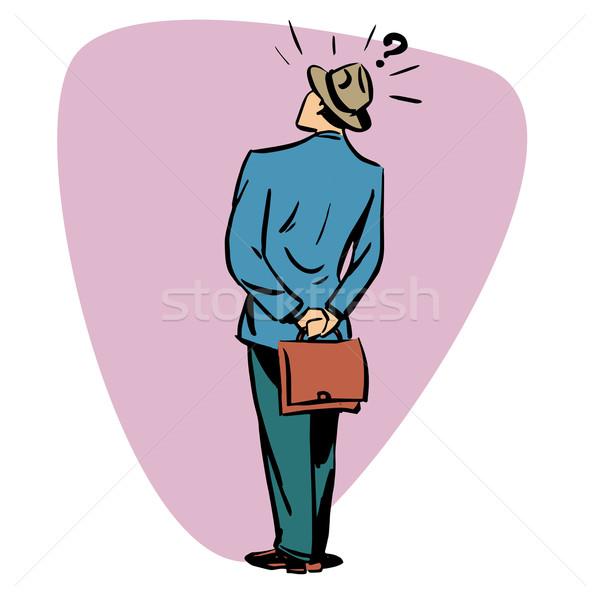 üzletember kérdések üzletemberek karakter képregény retró stílus Stock fotó © rogistok