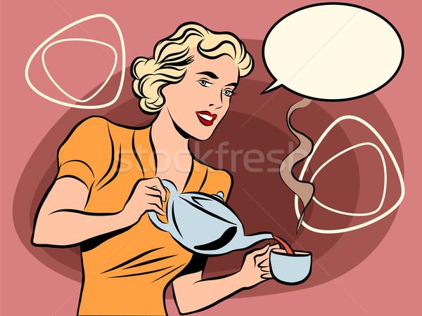 Serveerster thee retro kleuren pop art lijn Stockfoto © rogistok