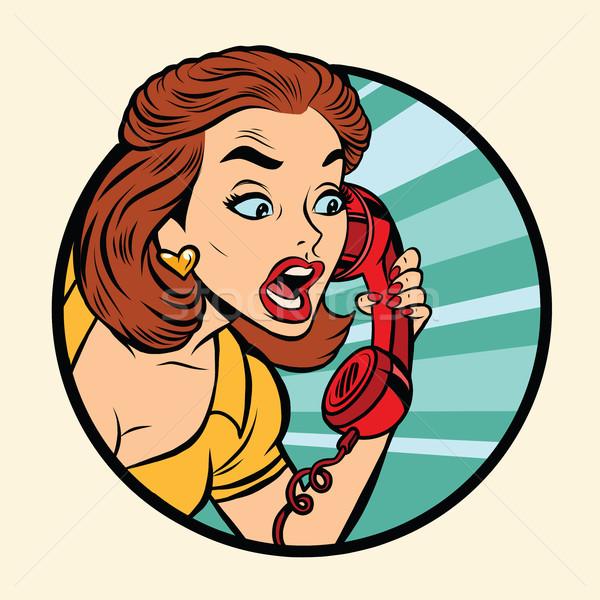 Zdjęcia stock: Komiks · kobieta · mówić · retro · telefonu · pop · art