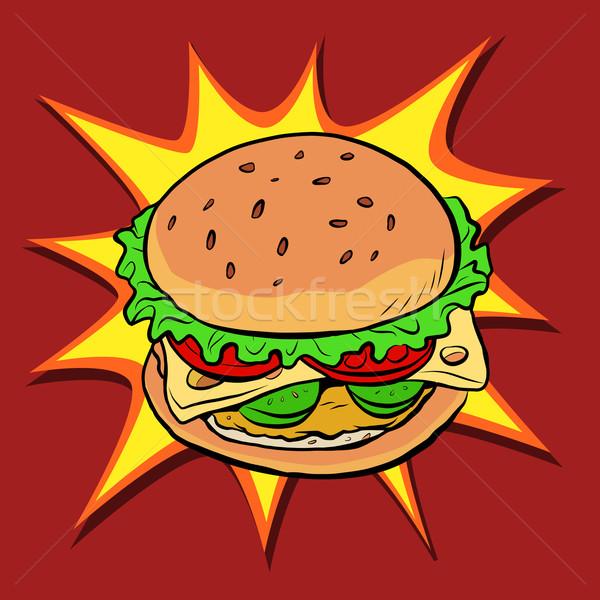 Burger fast-food Retro pop art vektör ekmek Stok fotoğraf © rogistok