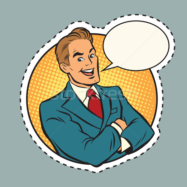 Joyful retro businessman label sticker outline Stock photo © rogistok
