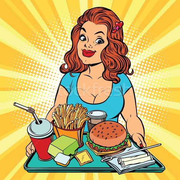 Yaşam tarzı genç kadın fast-food öğle yemeği restoran pop art Stok fotoğraf © rogistok