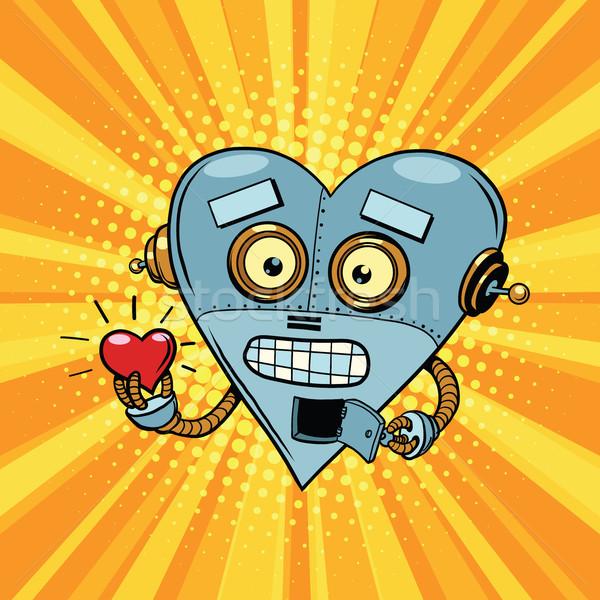 ретро робота сердце Валентин любви романтика Сток-фото © rogistok