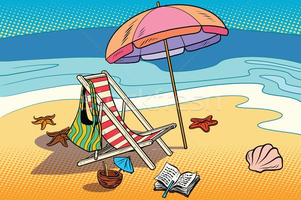 Spiaggia sole ombrello mare turismo fumetto Foto d'archivio © rogistok