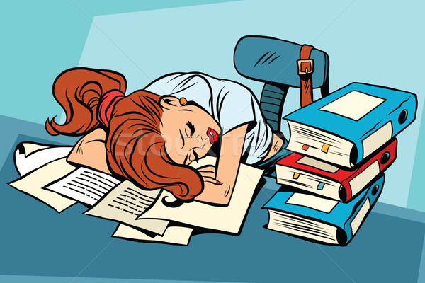 Fiatal nő alszik munka iskola pop art képregény Stock fotó © rogistok