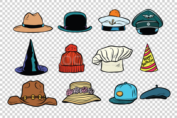 Hat set collection on isolated background Stock photo © rogistok