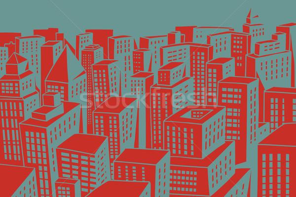 Piros tetők modern város felhőkarcolók képregény Stock fotó © rogistok