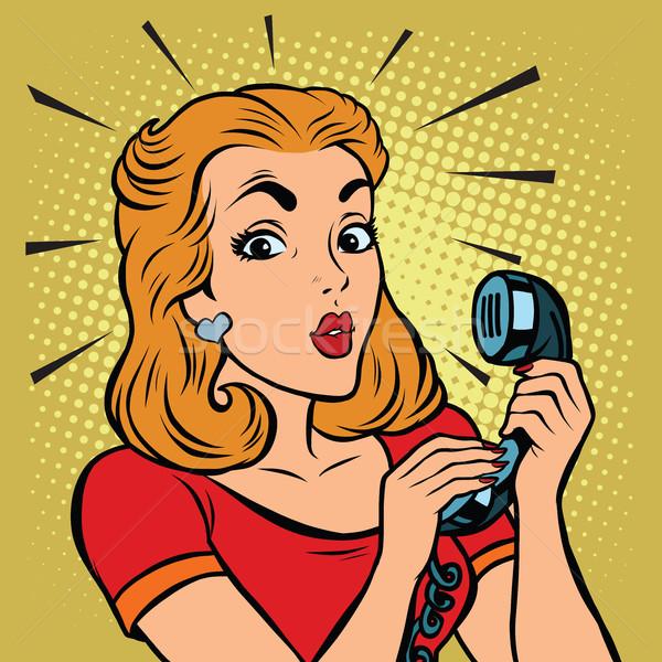 Képregény lány beszél telefon pop art illusztráció Stock fotó © rogistok