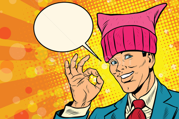 Bueno hombre cono sombrero retro arte pop Foto stock © rogistok