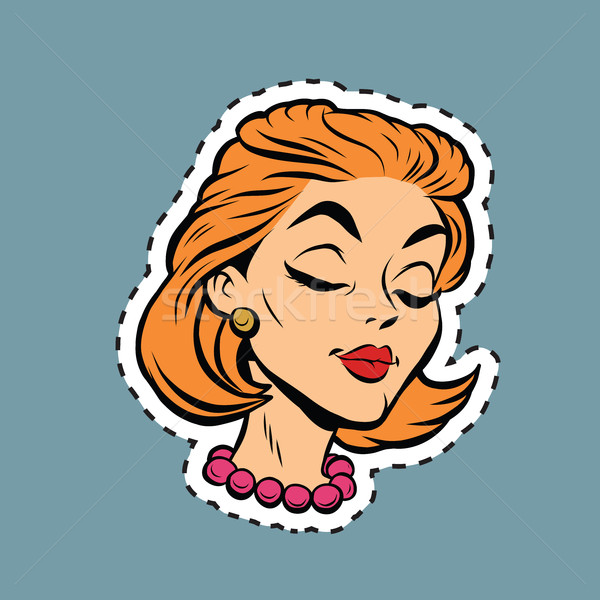 Beautiful modest retro girl head sticker label Stock photo © rogistok