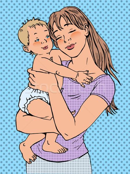 Mom Frau Baby Arme modernen freudige Stock foto © rogistok