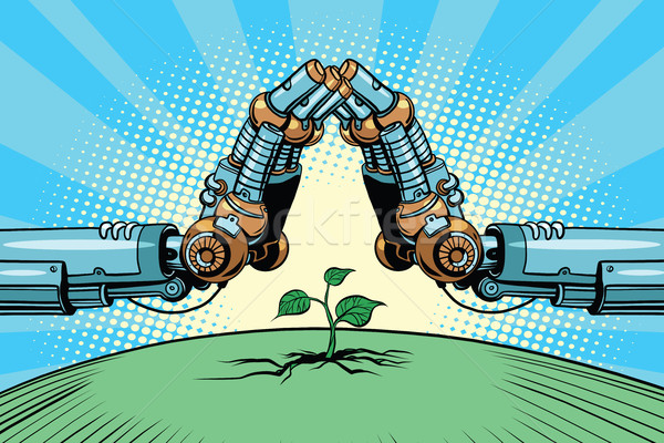 The robot arm protect green sprout, technology environment and n Stock photo © rogistok