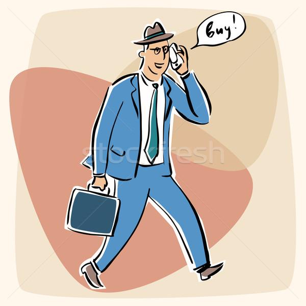Zakenman praten telefoon doei vaarwel retro-stijl Stockfoto © rogistok