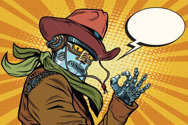 Steampunk robot Cowboy ok geste pop art Photo stock © rogistok