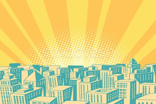 Pop art sunrise over the modern city Stock photo © rogistok