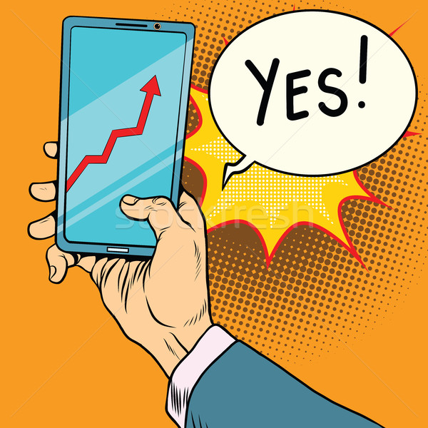 Telefoon scherm schema groei vintage komische Stockfoto © rogistok