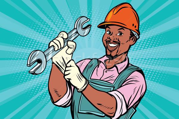 ストックフォト: 建設作業員 · レンチ · 修復 · ツール · アフリカ系アメリカ人 · 人