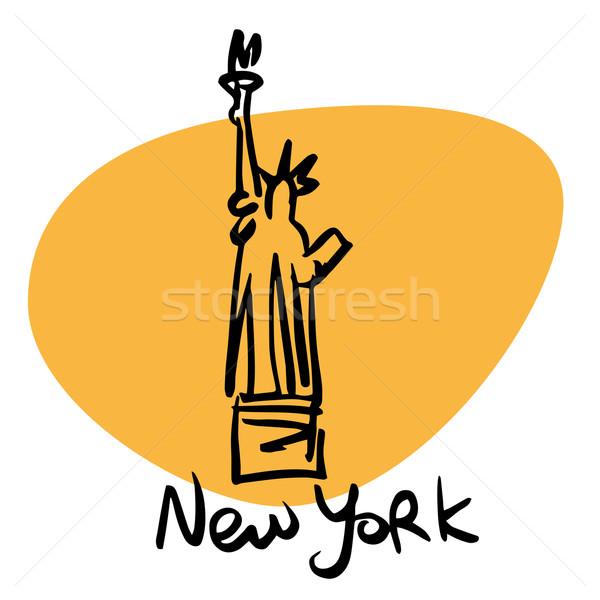 New York USA szobor hörcsög stilizált kép Stock fotó © rogistok