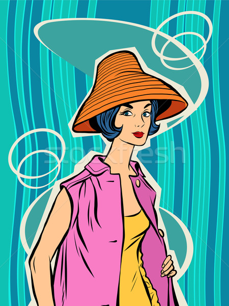 Fashion retro girl in the sun hat Stock photo © rogistok