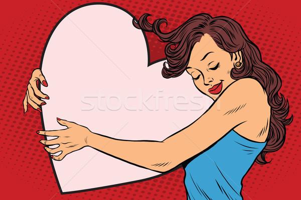 Güzel genç kadın valentine kalp bo Stok fotoğraf © rogistok