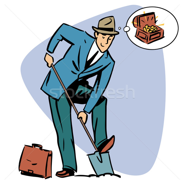 Businessman treasure hunter dreams money business people concept Stock photo © rogistok