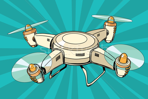 quadcopter toy aircraft pop art illustration, Drone flying Stock photo © rogistok