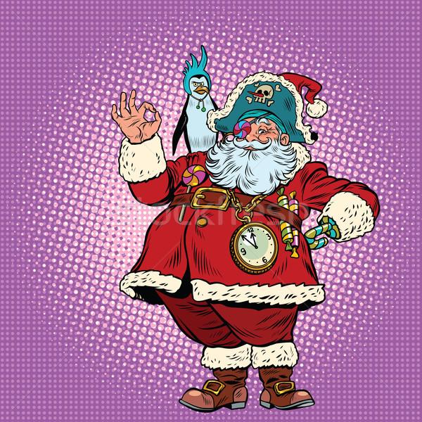 Santa Claus pirate and penguin okay gesture Stock photo © rogistok