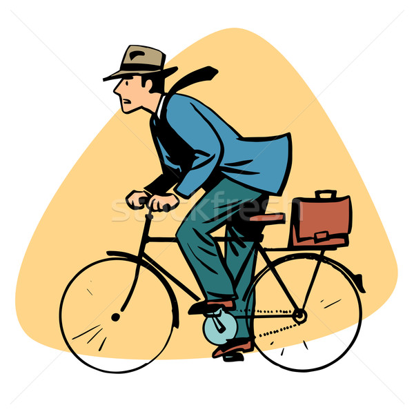 businessman riding bicycle business people concept character Stock photo © rogistok