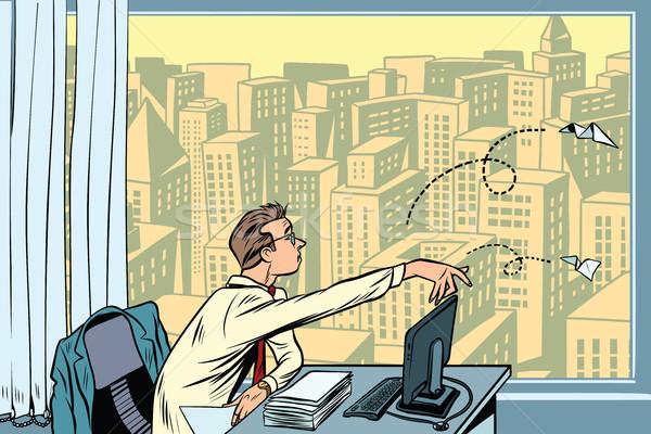скука работу бизнесмен бумаги Сток-фото © rogistok