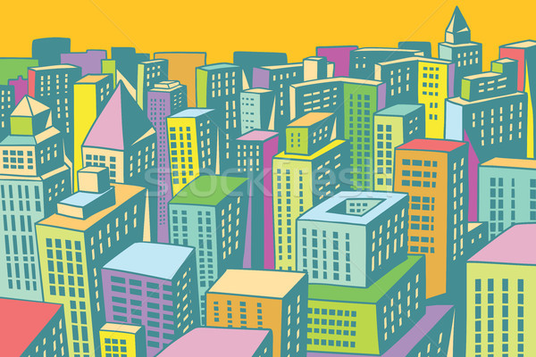 Colorful Buildings Of The Modern City Background Vector