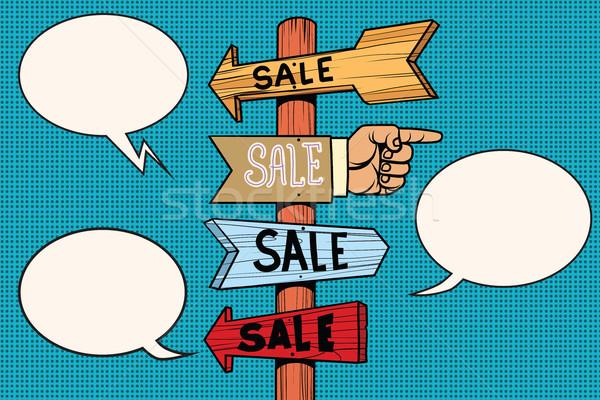 Seta venda sinais navegação retro Foto stock © rogistok