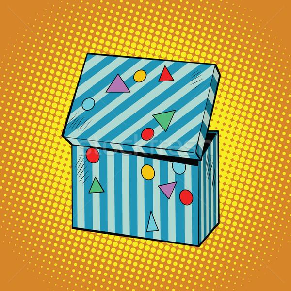 Csíkos ünnep doboz ajándékok pop art retro Stock fotó © rogistok