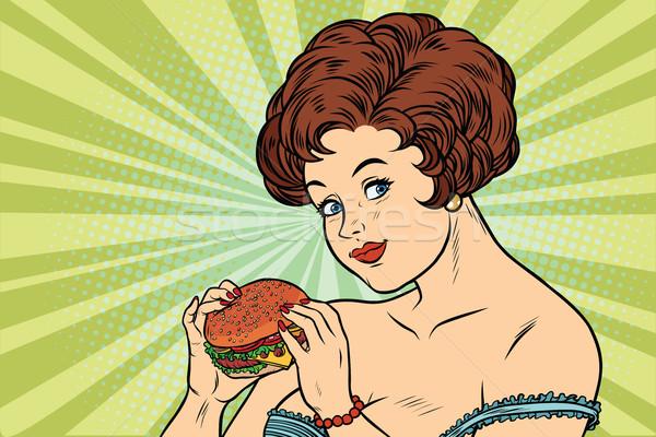 Gyönyörű szexi nő hamburger finom étel rajz Stock fotó © rogistok