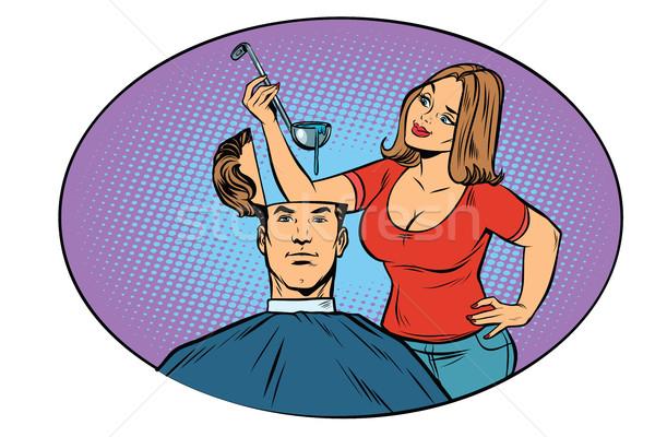 Vrouw echtgenoot soep hoofd honger gedachten Stockfoto © rogistok