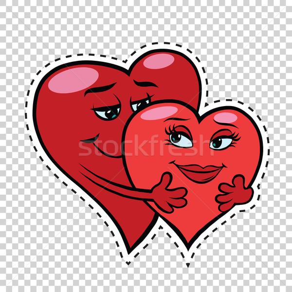 Stok fotoğraf: Sevmek · çift · sarılmak · kırmızı · kalpler