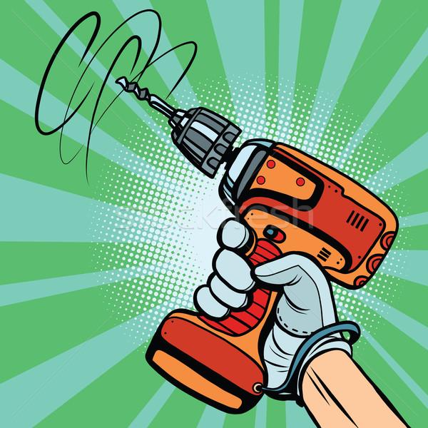 Szerszám elektromos fúró kéz pop art retro Stock fotó © rogistok