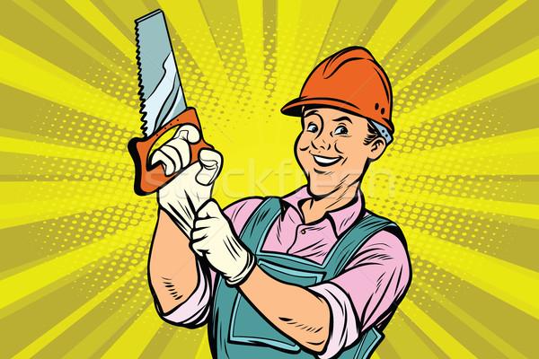 Stockfoto: Bouwvakker · zag · reparatie · tool · cartoon