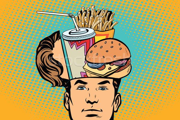 Mann öffnen Kopf Fast-Food Comic Karikatur Stock foto © rogistok