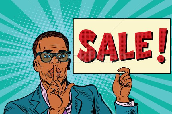 Afrikaanse zakenman geheime verkoop pop art retro Stockfoto © rogistok
