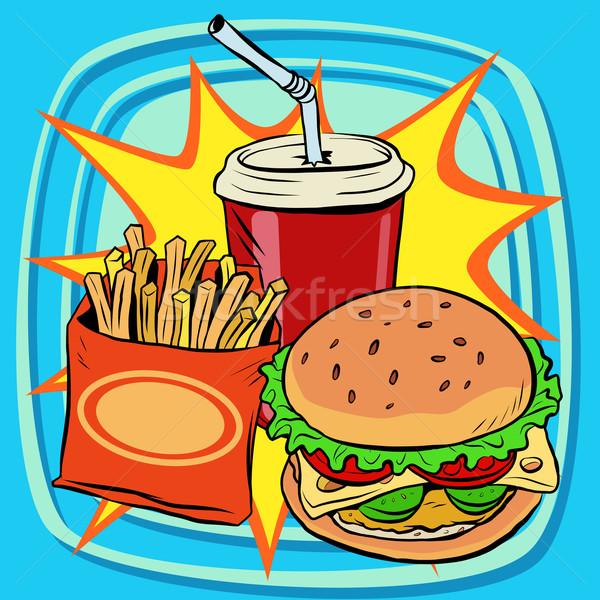 Gyorsételek sültkrumpli hamburger ital kóla pop art Stock fotó © rogistok