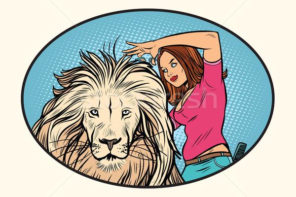 女性 スタイリスト ヘアドレッサー ライオン コミック 漫画 ストックフォト © rogistok