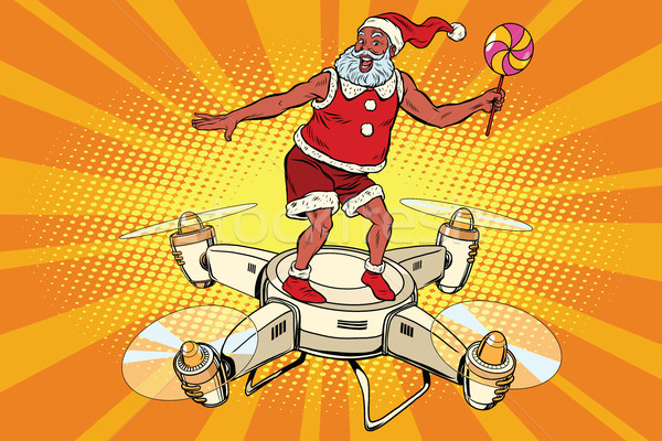 Santa Claus flying on a quadcopter Stock photo © rogistok